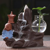 Backflow Incense Burner Ceramic Little Monk Small Buddha Waterfall