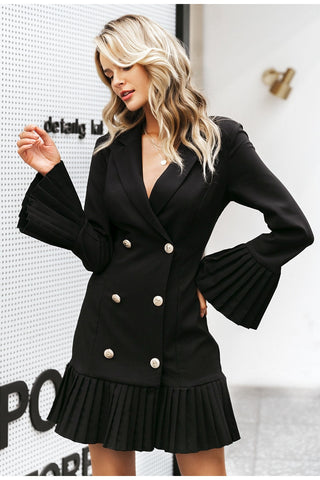 Black Gold Button and Ruffle Dress