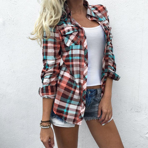 Plaid Button Down Long Sleeve Top