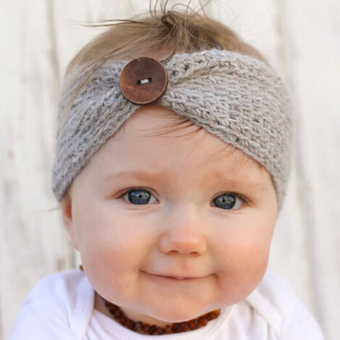 Newborn Button Knitted Headband