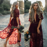 Burgundy Belted Bohemian Lace Dress