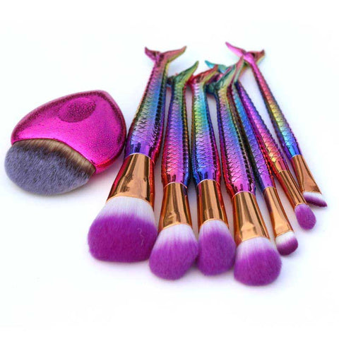 7 Or 8 Piece Mermaid Tail Makeup Brush Set
