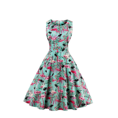 Flamingo Pattern Rockabilly Swing Dress