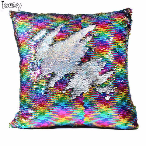 Reversible Sequin Mermaid Pillow Case Magical Color Changing Throw Pillow Cover