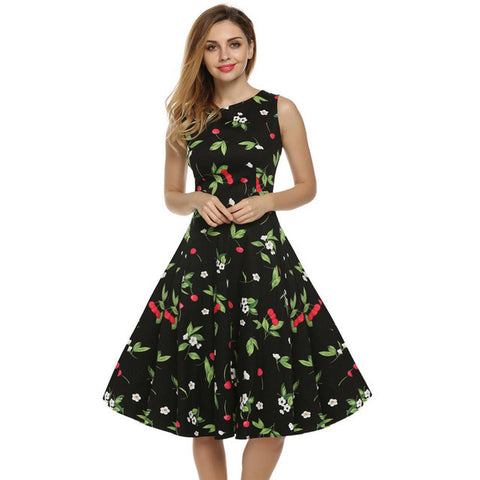 Cherry Print Vintage Style Swing Dress