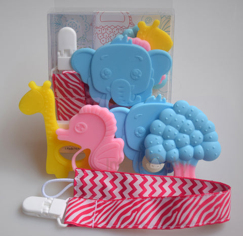 Infayebaby Soft Silicone Baby Teether Set (Pack of 4) + Pacifier Clip / Teether Holder + Original Teething Toys Package