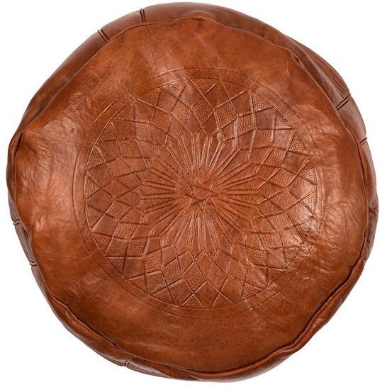 Fez Leather Moroccan Pouffe – Small Brown - Bohemian Lifestyle