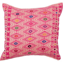 Mexican Pink Diamond Embroidered Cushion - Bohemian Lifestyle