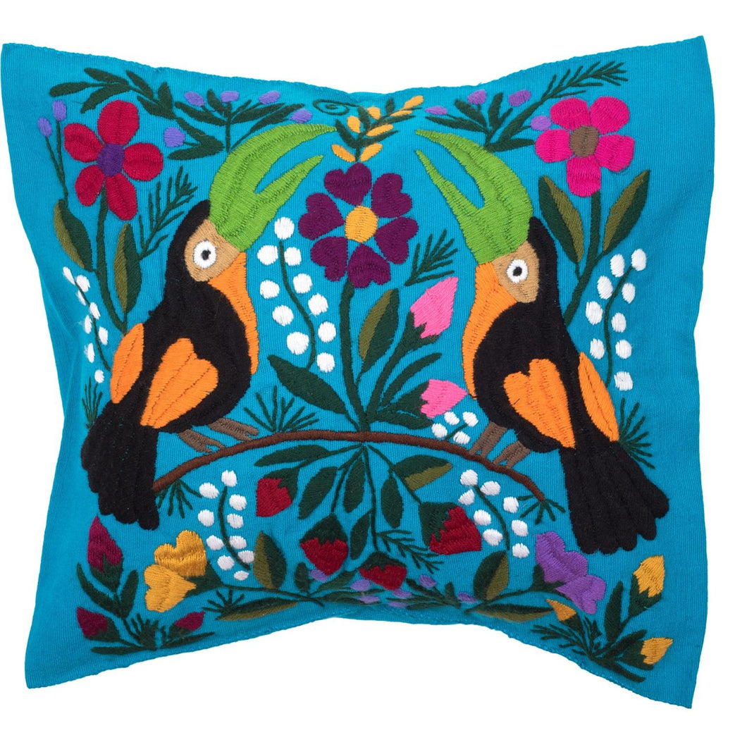 Mexican Master Tzotzi Embroidered Cushion - Blue - Bohemian Lifestyle