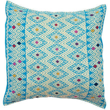 Mexican Blue Diamond Embroidered Cushion - Bohemian Lifestyle