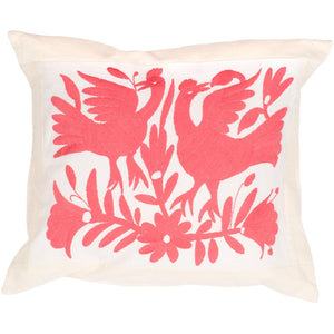 Mexican Otomi Embroidered Cushion - Pink - Bohemian Lifestyle
