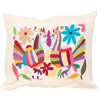 Mexican Otomi Embroidered Cushion - Multicolour No 2 - Bohemian Lifestyle