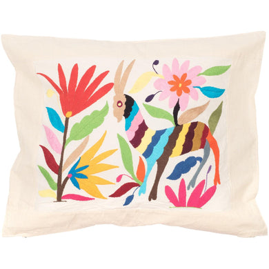 Mexican Otomi Embroidered Cushion - Multcolour No 1 - Bohemian Lifestyle