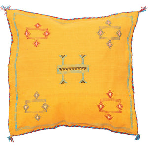 Moroccan Sabra Silk Cushion Cover -  Yellow - Bohemian Lifestyle