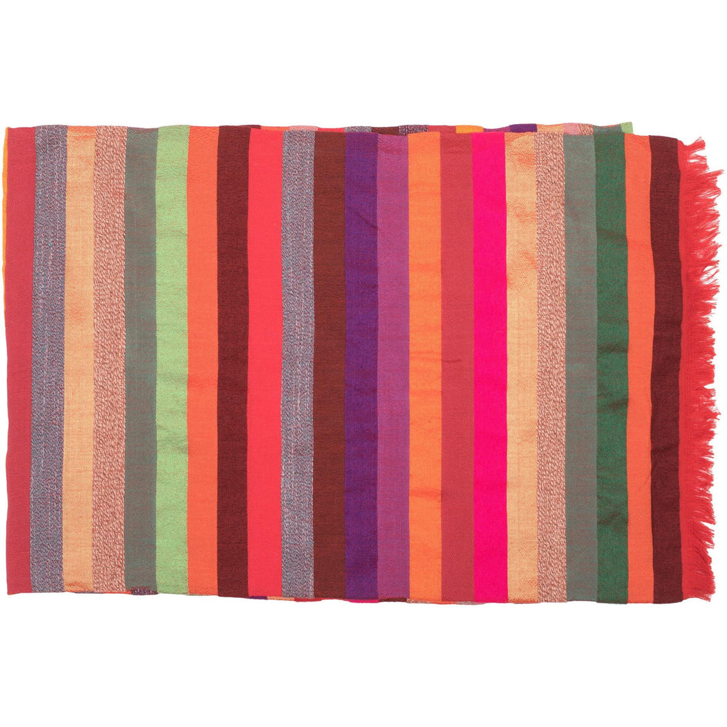 Moroccan Red Multicoloured Stripy Silk Throw - Bohemian Lifestyle