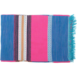 Mexican Blue / Pink Wahaca Blanket - Bohemian Lifestyle