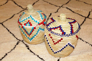Moroccan Storage Pots –  Navy / Red / White - Bohemian Lifestyle