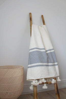 Moroccan Cotton Pom Pom Blanket - Natural / Grey - Bohemian Lifestyle
