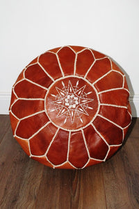 Marrakesh Leather Moroccan Pouffe -  Dark Chestnut - Bohemian Lifestyle