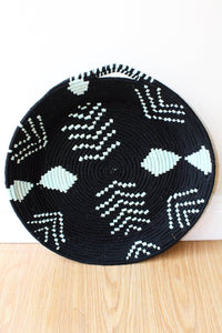 Moroccan Woven Plate  - Black / Light Green - Bohemian Lifestyle