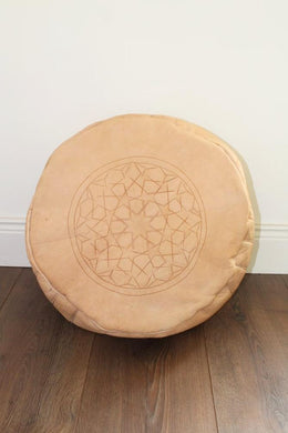 Fez Leather Moroccan Pouffe –  Large Natural - Bohemian Lifestyle