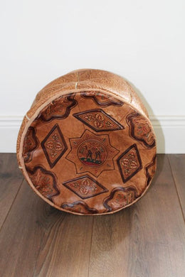 Taroudant Leather Moroccan Pouffe – Small - Bohemian Lifestyle