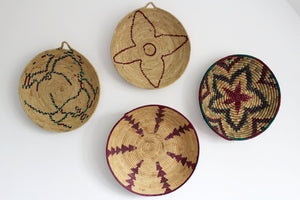 Moroccan Woven Plate  - Natural / Cerise / Green - Bohemian Lifestyle