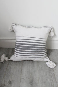 Moroccan White / Grey Stripe Pom Pom Cushion - Bohemian Lifestyle