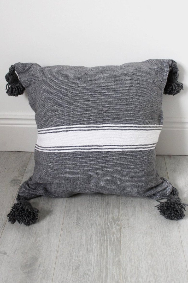 Moroccan Grey / White Stripe Pom Pom Cushion No 5 - Bohemian Lifestyle