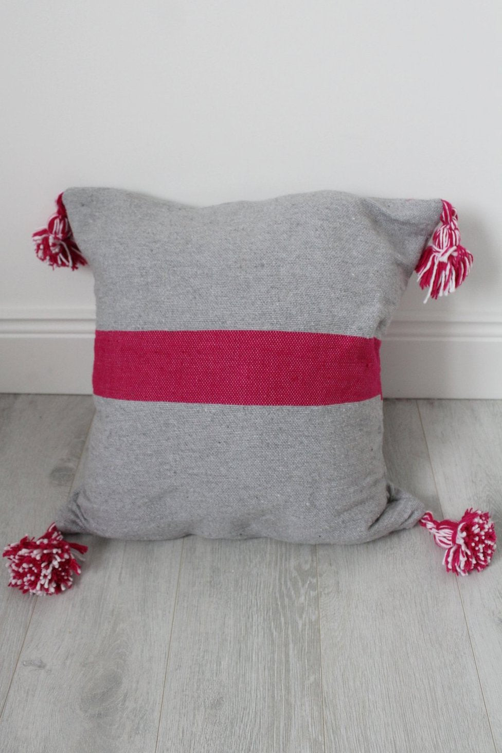 Moroccan Grey / Pink Stripe Pom Pom Cushion - Bohemian Lifestyle