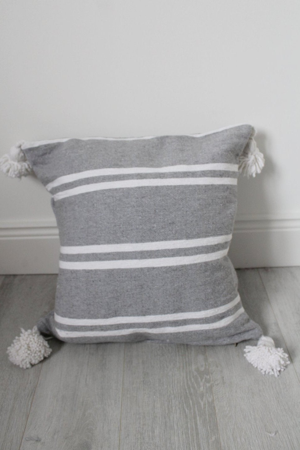 Moroccan Grey / White Stripe Pom Pom Cushion No 4 - Bohemian Lifestyle