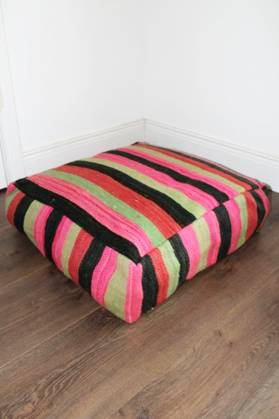 Moroccan Pink / Green / Black Striped Kilim Floor Cushion - Bohemian Lifestyle