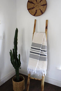 Moroccan Natural / Grey Striped Throw - Bohemian Lifestyle