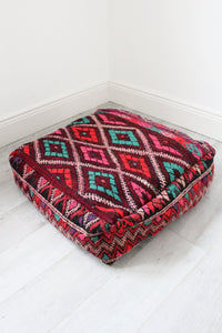 Moroccan Multicoloured Kilim Floor Cushion - Bohemian Lifestyle