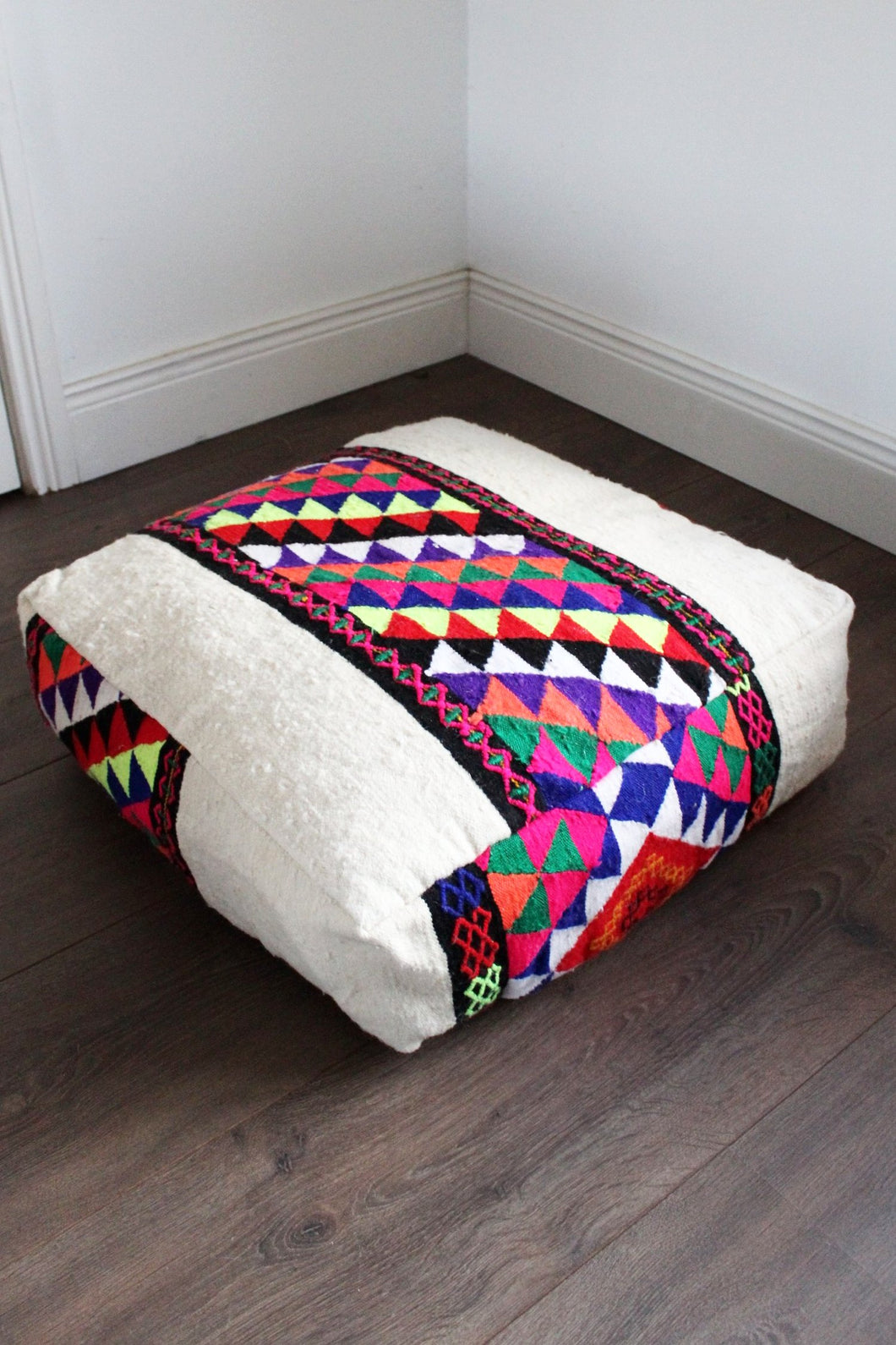 Moroccan Cream / Multicoloured Kilim Floor Cushion - Bohemian Lifestyle