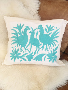 Mexican Otomi Embroidered Cushion - Turquoise - Bohemian Lifestyle