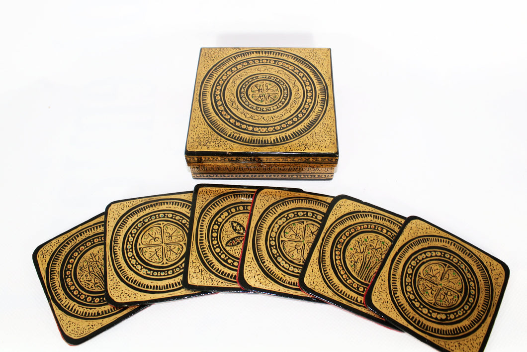 Kashmir Paper Mache Coaster and Box Set - Bohemian Lifestyle