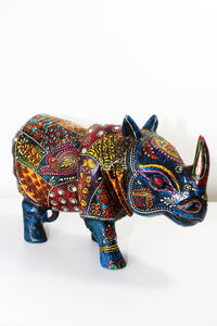 Kashmir Blue Rhinoceros - Reclaimed Wood - Bohemian Lifestyle