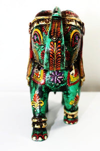 Kashmir Green Elephant - Reclaimed Wood - Bohemian Lifestyle