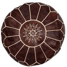 Marrakesh Leather Moroccan Pouffe – Chocolate - Bohemian Lifestyle