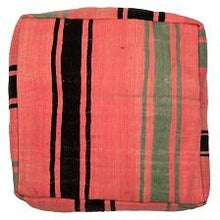 Moroccan Pink / Black / Green Kilim Floor Cushion - Bohemian Lifestyle