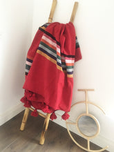 Moroccan  Red / Multi coloured striped Pom Pom Blanket - Bohemian Lifestyle