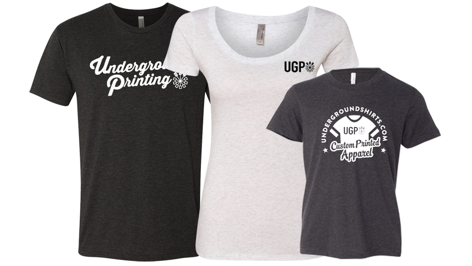 Custom t shirt printing with no minimums from ugp for Photo printing on t shirts