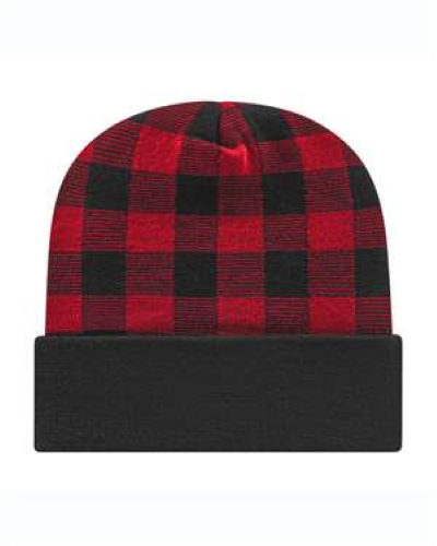 Cap American Plaid Knit With Cuff Made in USA