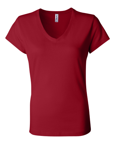 Bella Ladies Short Sleeve V-Neck T-Shirt