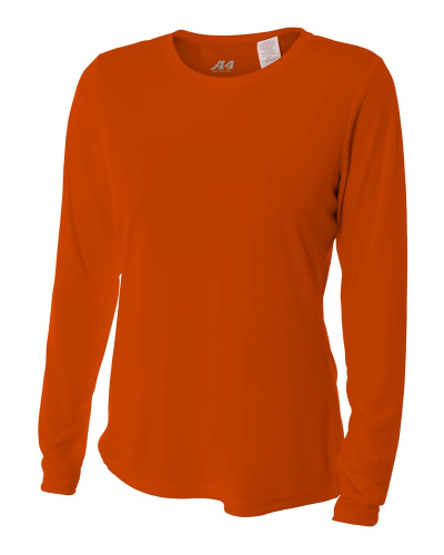 A4 Womens Long Sleeve Cooling Performance Crew