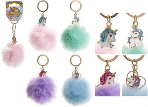Pom Pom Keychain With Unicorn