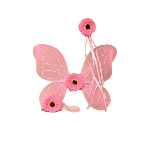 Pink Flower Fairy Wings, Wand & Headband
