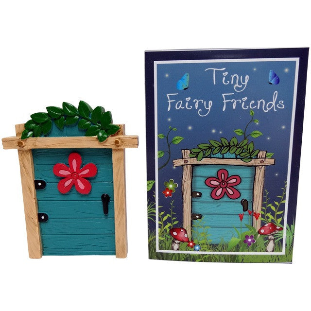 Turquoise Fairy Door With Red Flower