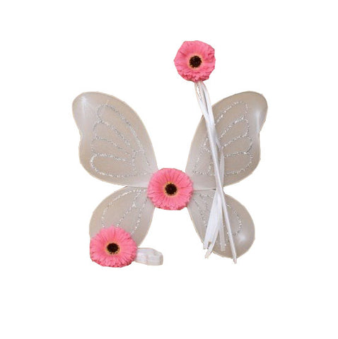 White Flower Fairy Wings, Wand & Headband